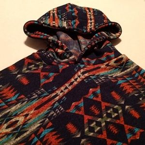 Tops - EUC HOODED AZTEC PRINT PONCHO.